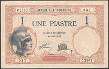 French Indo-China 1 piastre 1927 Pick 48b
