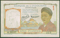 French Indo-China 1 piastre 1936 Pick 54b